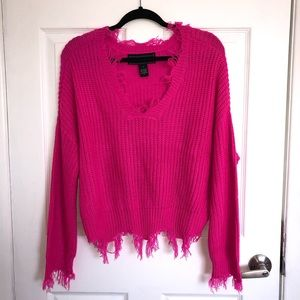🔥3/25🔥 Neon Pink Distressed Sweater